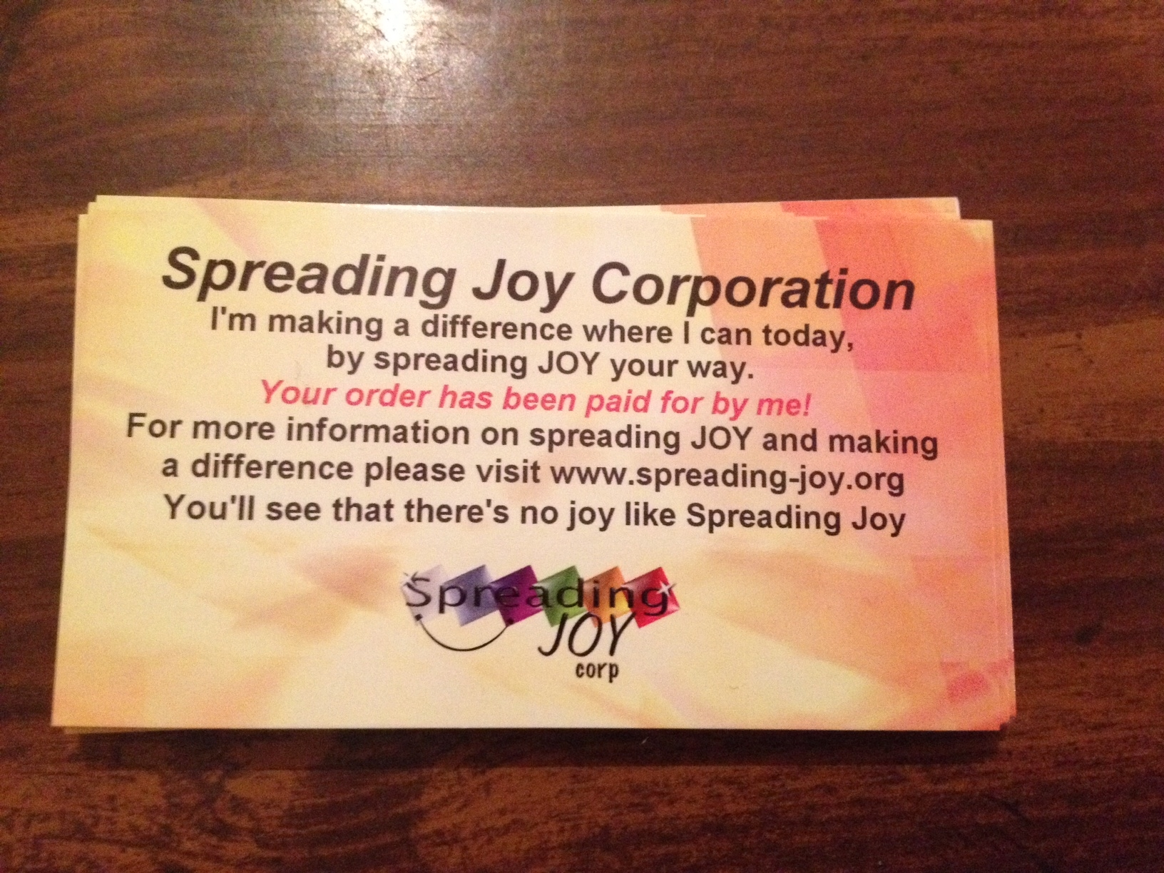 Secretly Pay for a meal or coffee! Have Fun Spreading JOY. Get These Cards FREE!